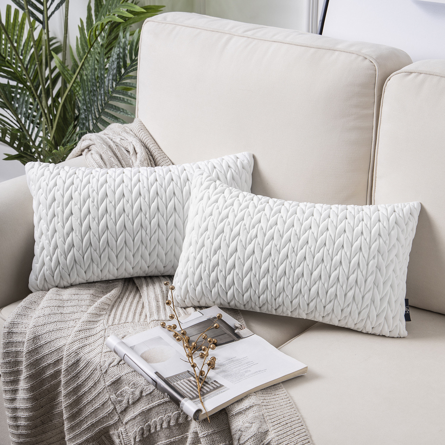 Set of quilted velvet throw pillows in white