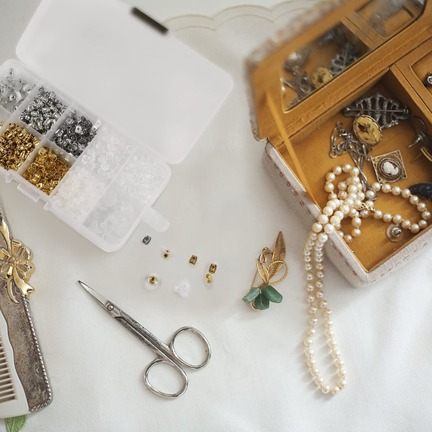 The kit with assorted earring backs