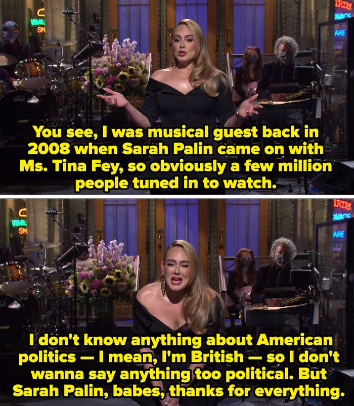 Adele thanking Sarah Palin for appearing on her first episode as musical guest