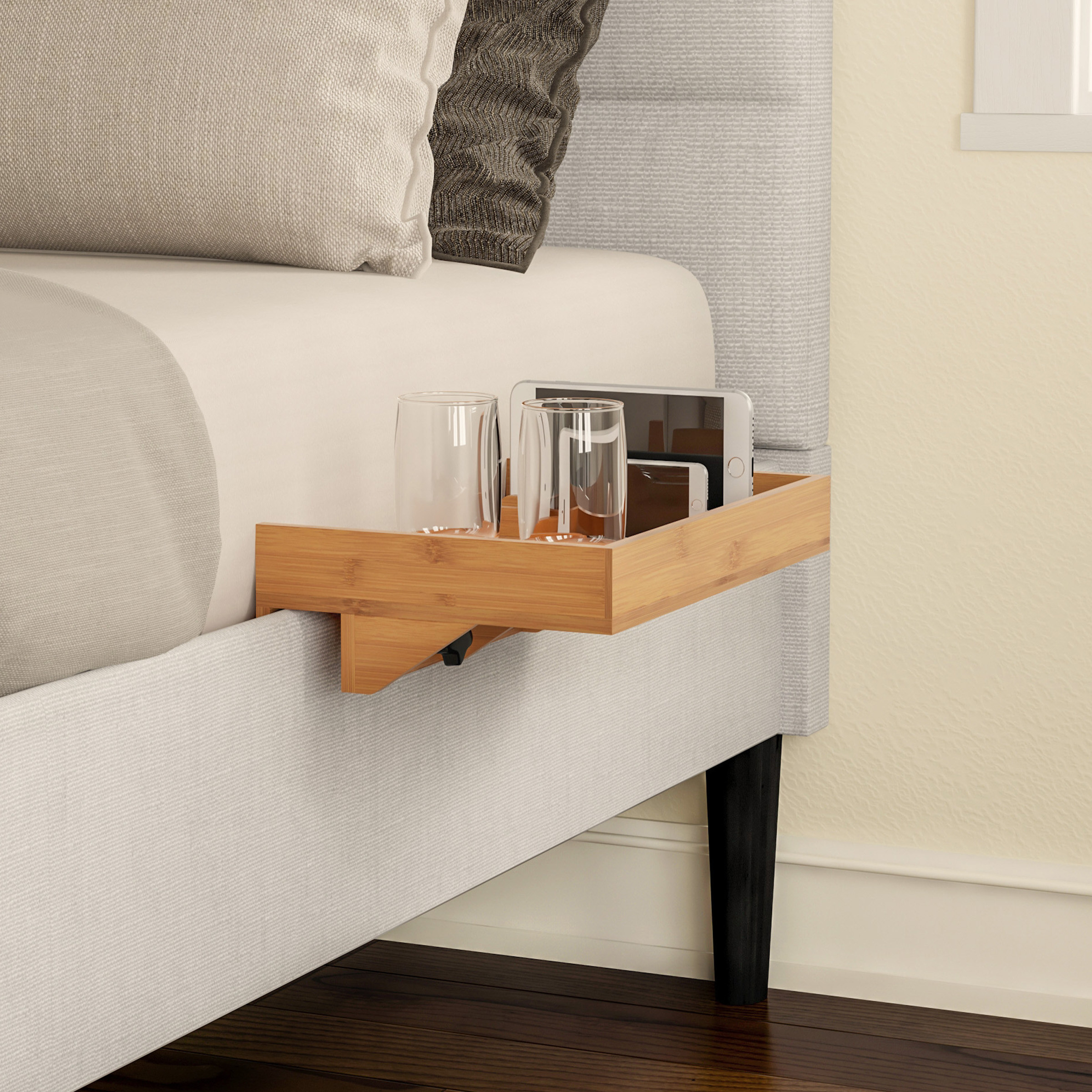 Clamp on bedside tray organizer