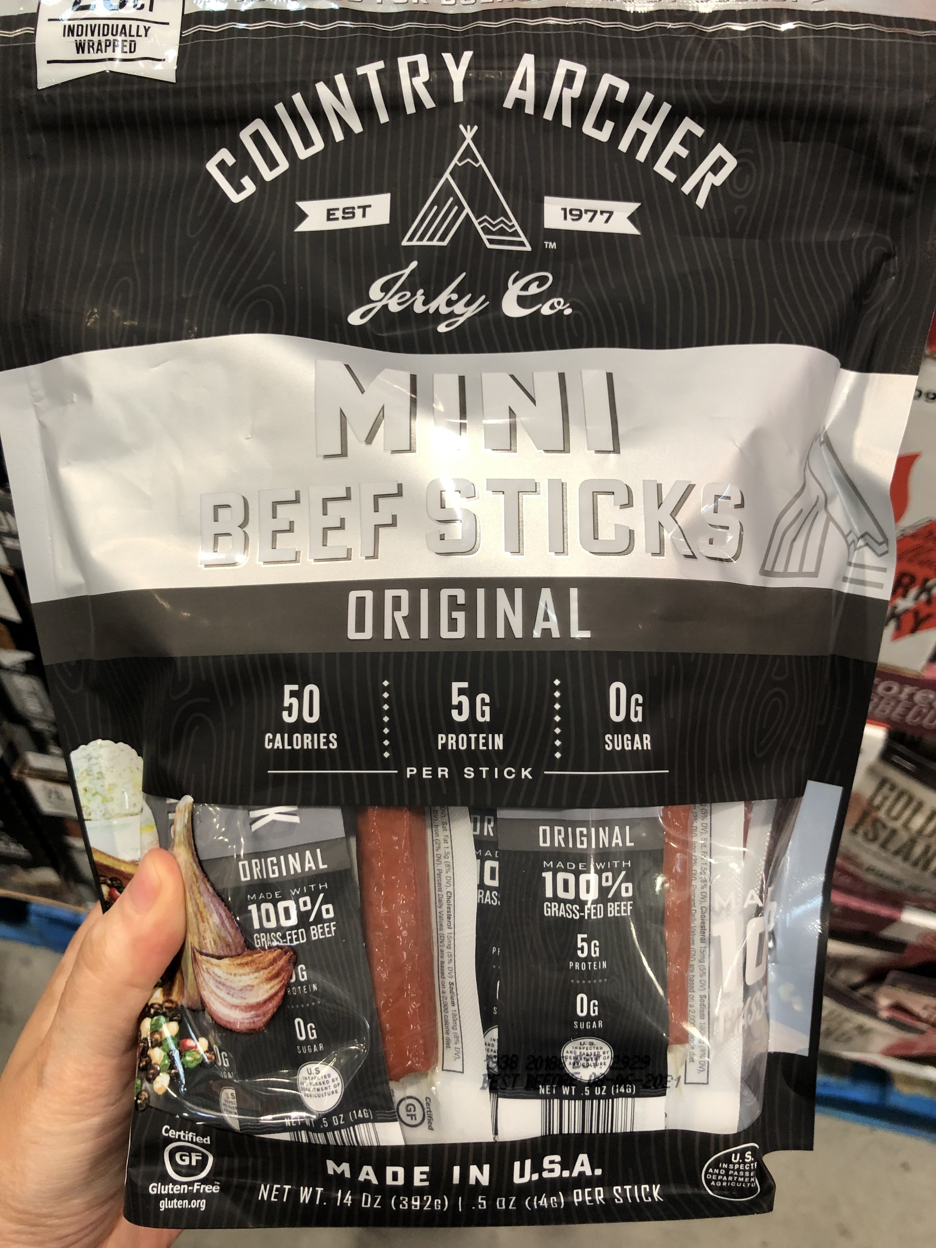 A bag of Country Archer beef sticks