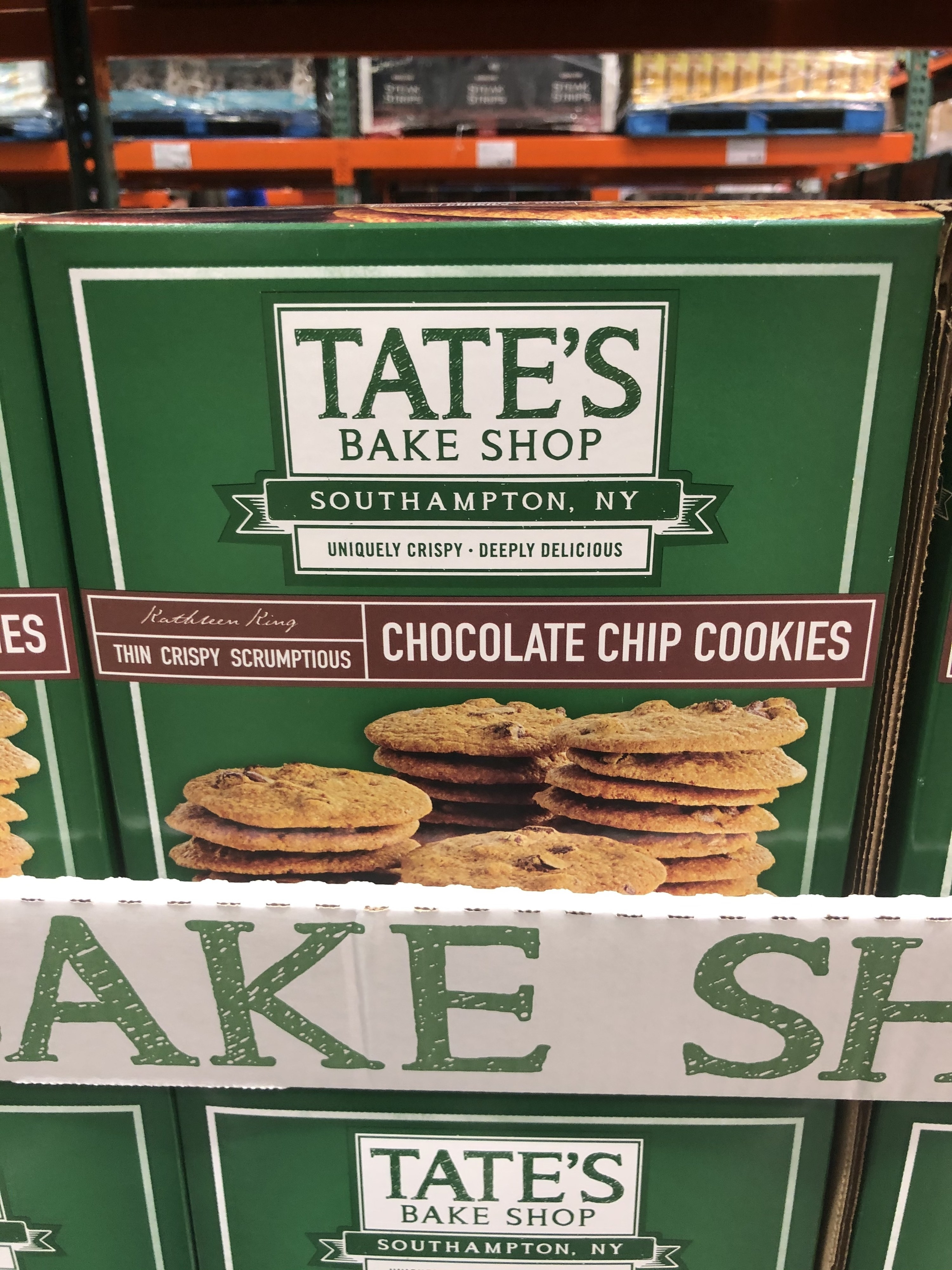 A box of Tate's chocolate chip cookies