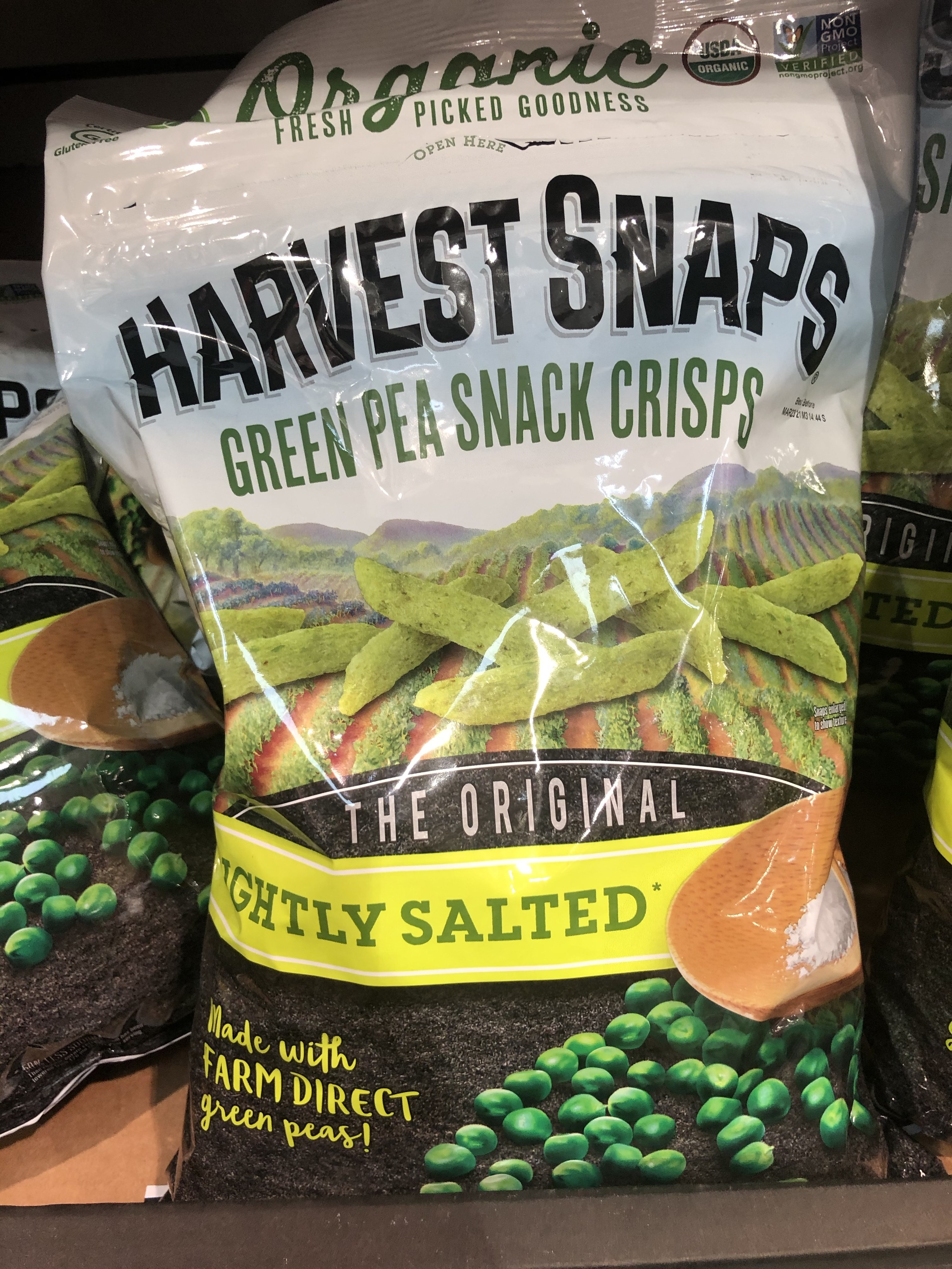 A bag of Harvest Snaps pea crips