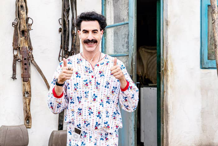Borat holding two thumbs up