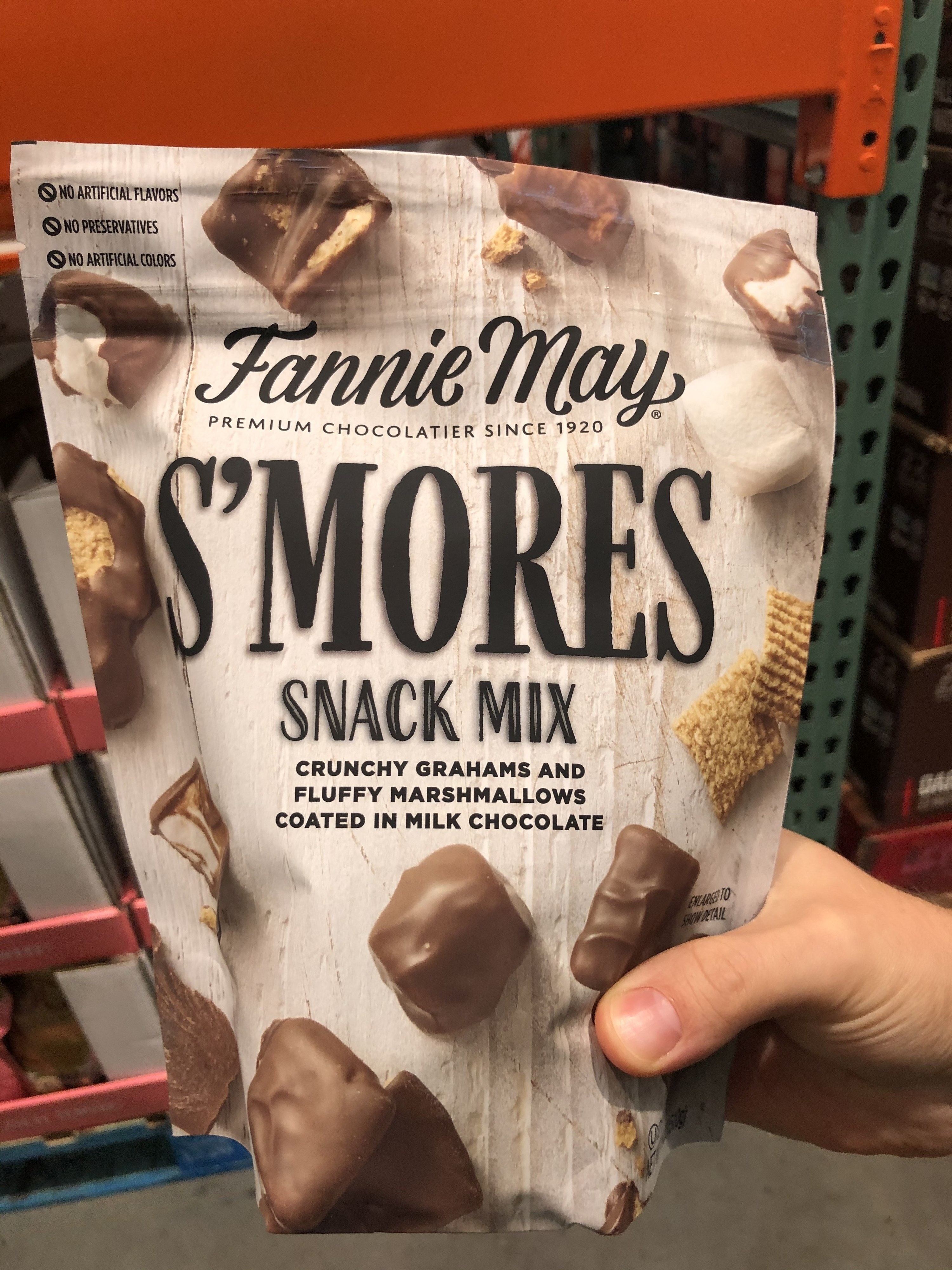 A box of Fannie May S'mores Snack mix