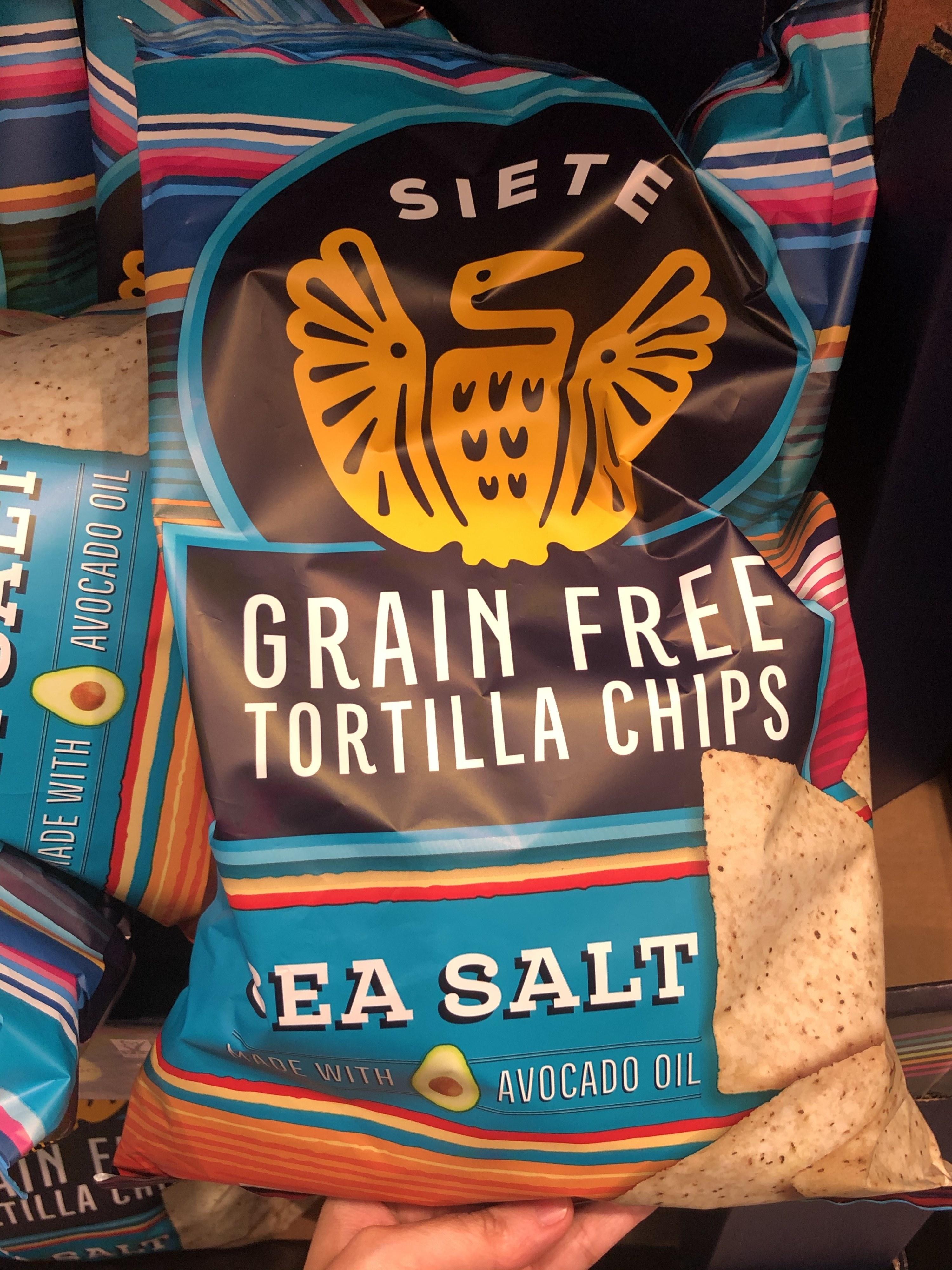 A bag of Siete grain-free tortilla chips