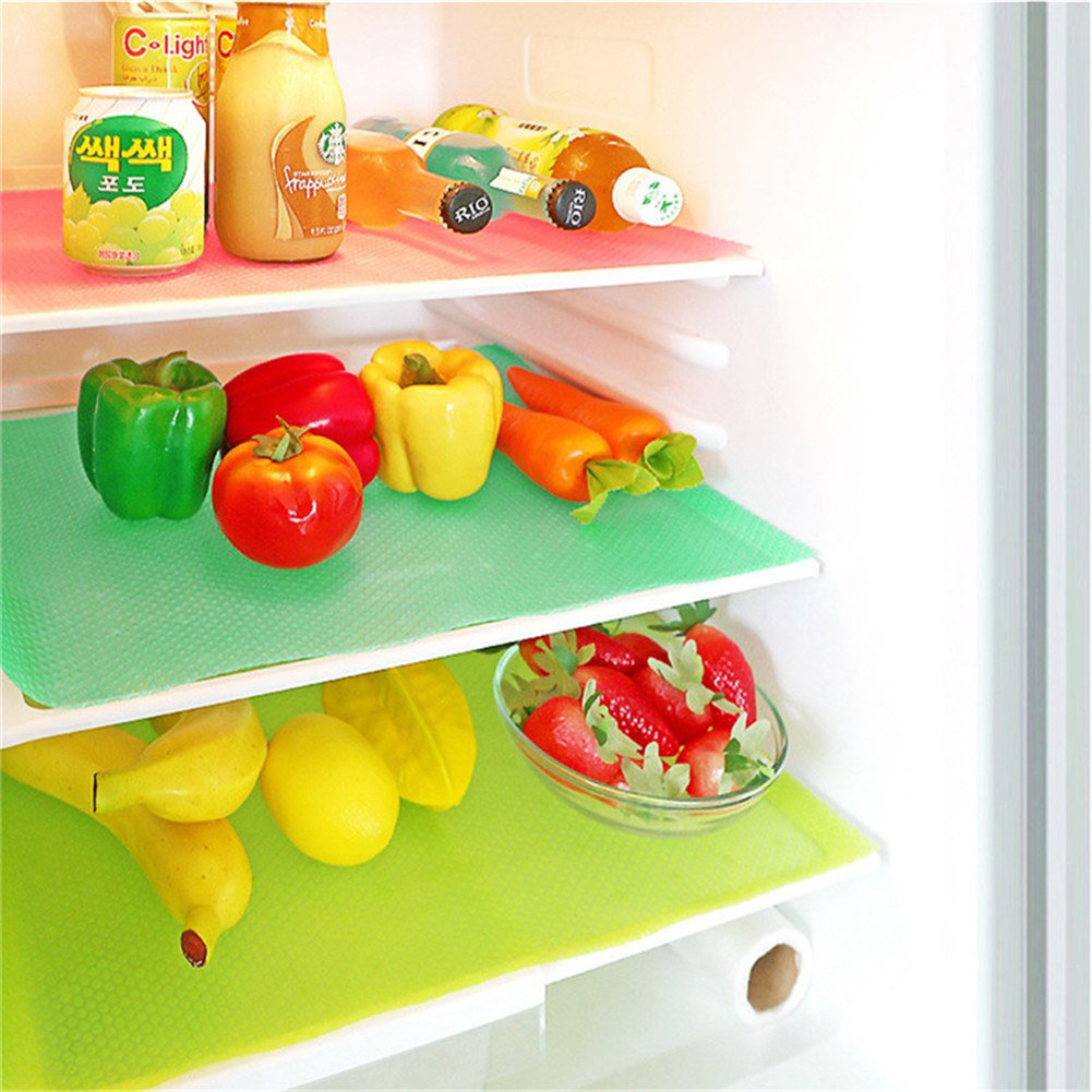 The liners, which fit over the entire top of the shelf and are made of a brightly colored rubber-like material