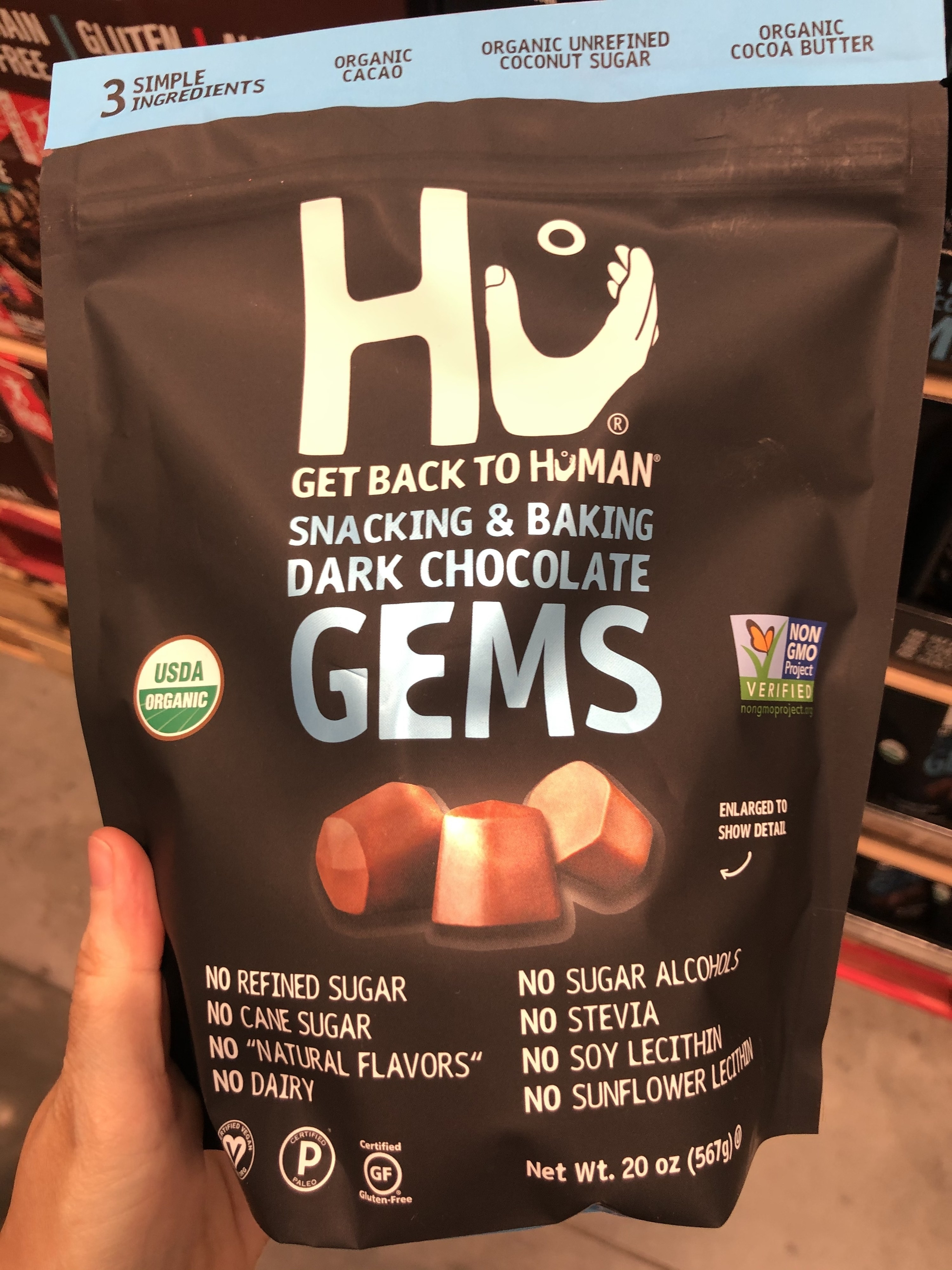 A bag of Hu snacking chocolates