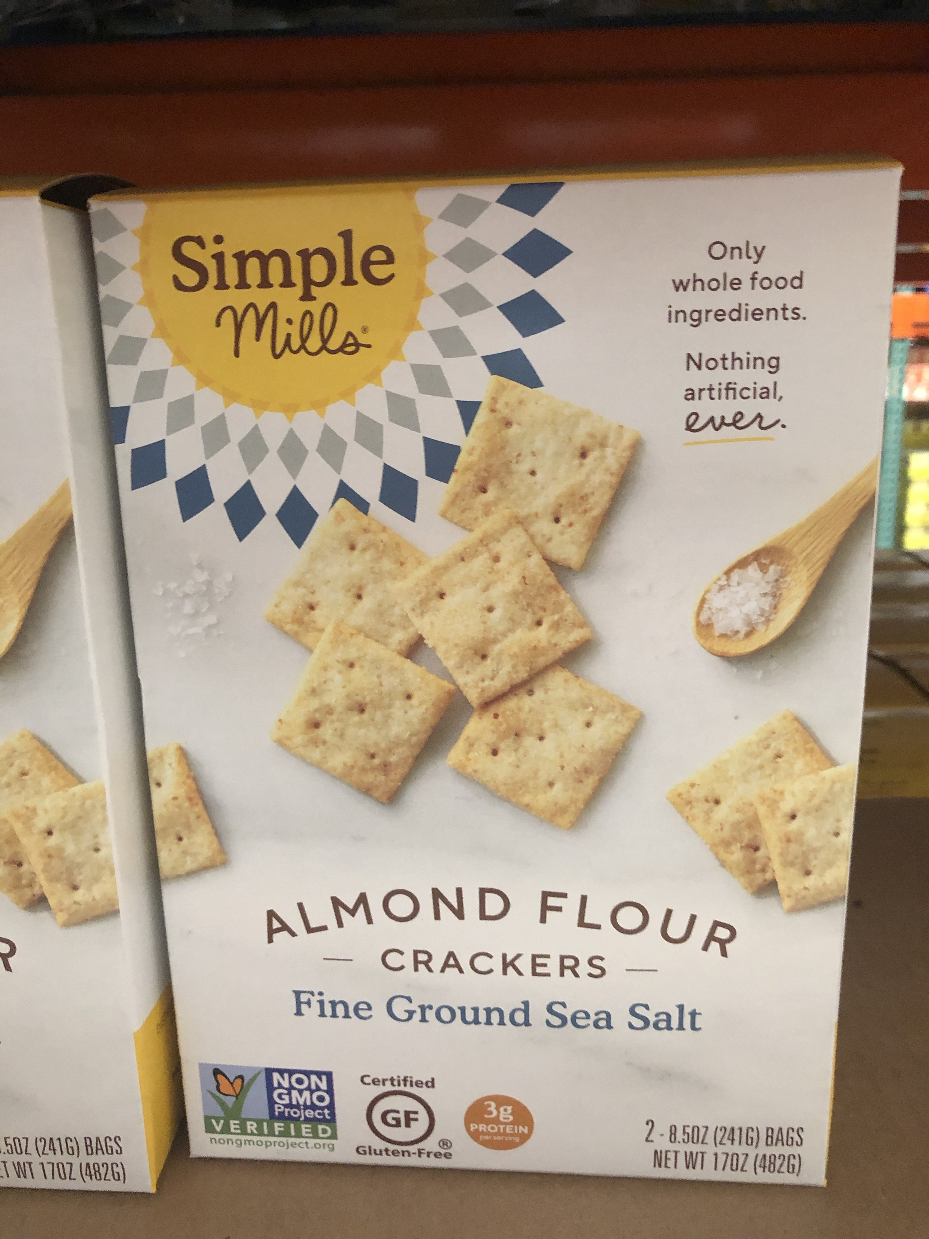 A box of Simple Mills almond flour crackers
