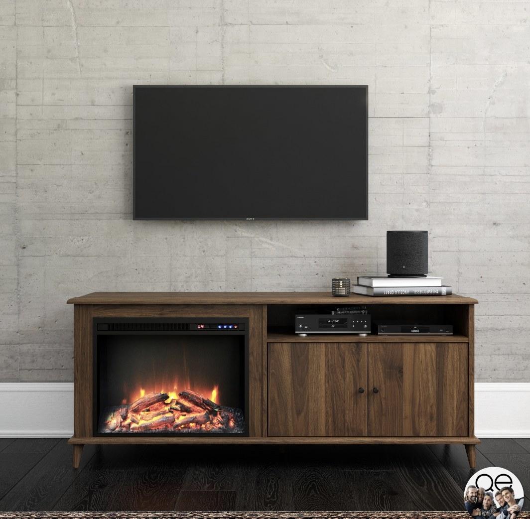 Mid-century fireplace TV stand