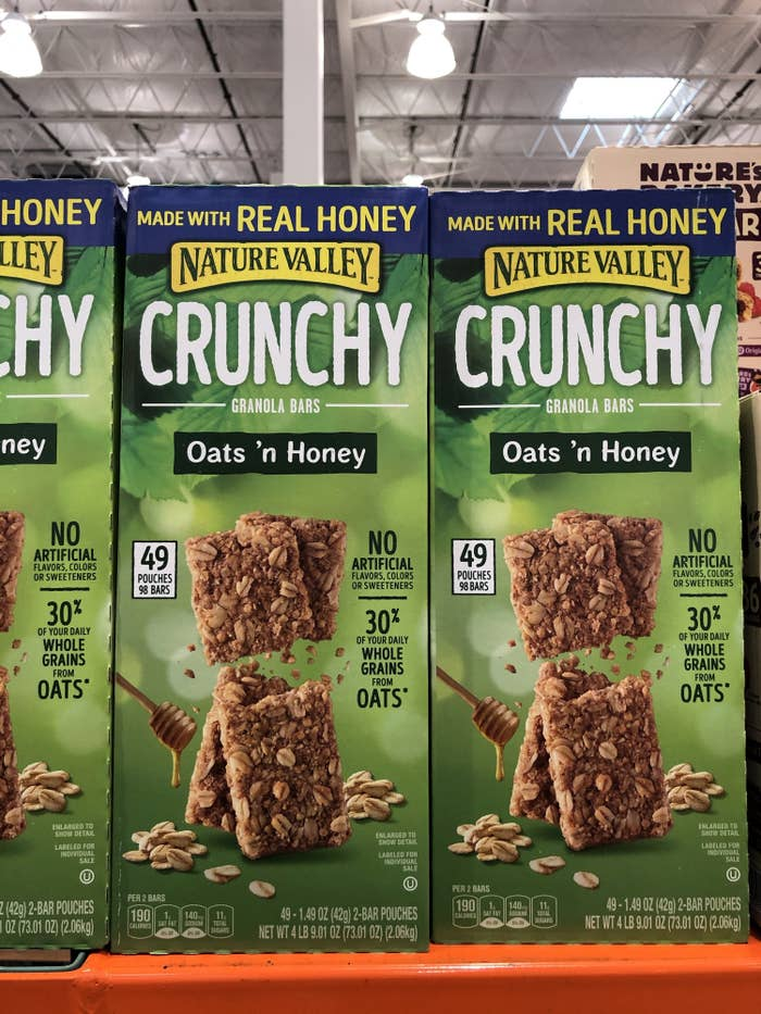 A box of Nature's Valley Oats and Honey bars