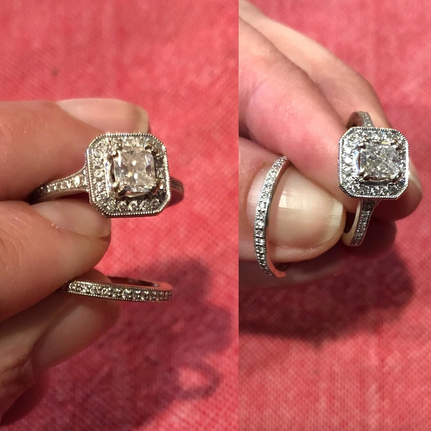 A reviewer showing rings with foggy looking diamonds at first, then looking bright and shiny after