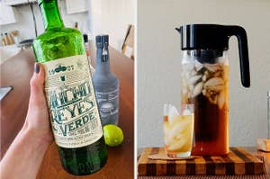 Side by side of Ancho Reyes Verde Liqueur and cold brew maker