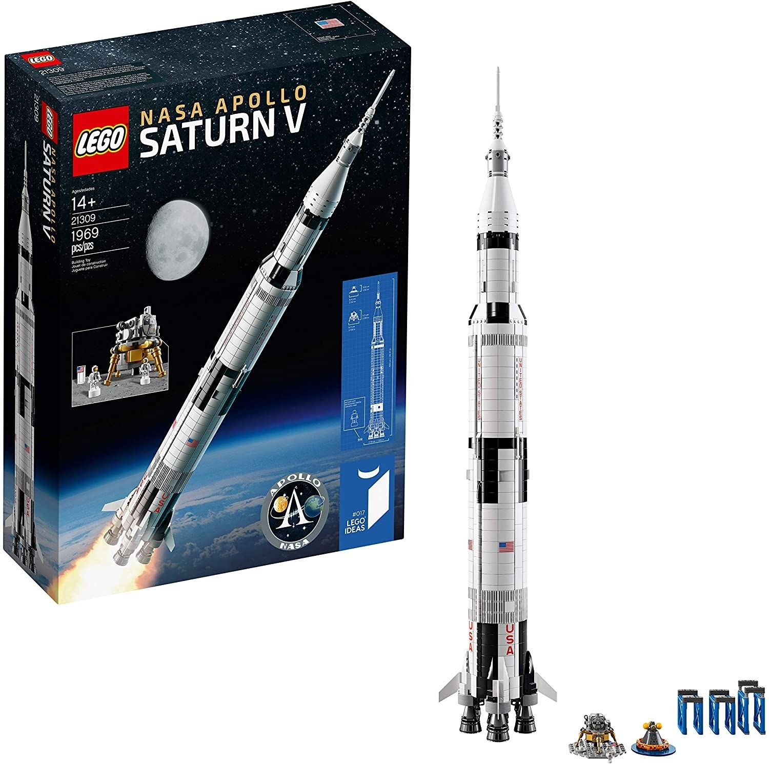 the box showing the rocket and the rocket built next to it