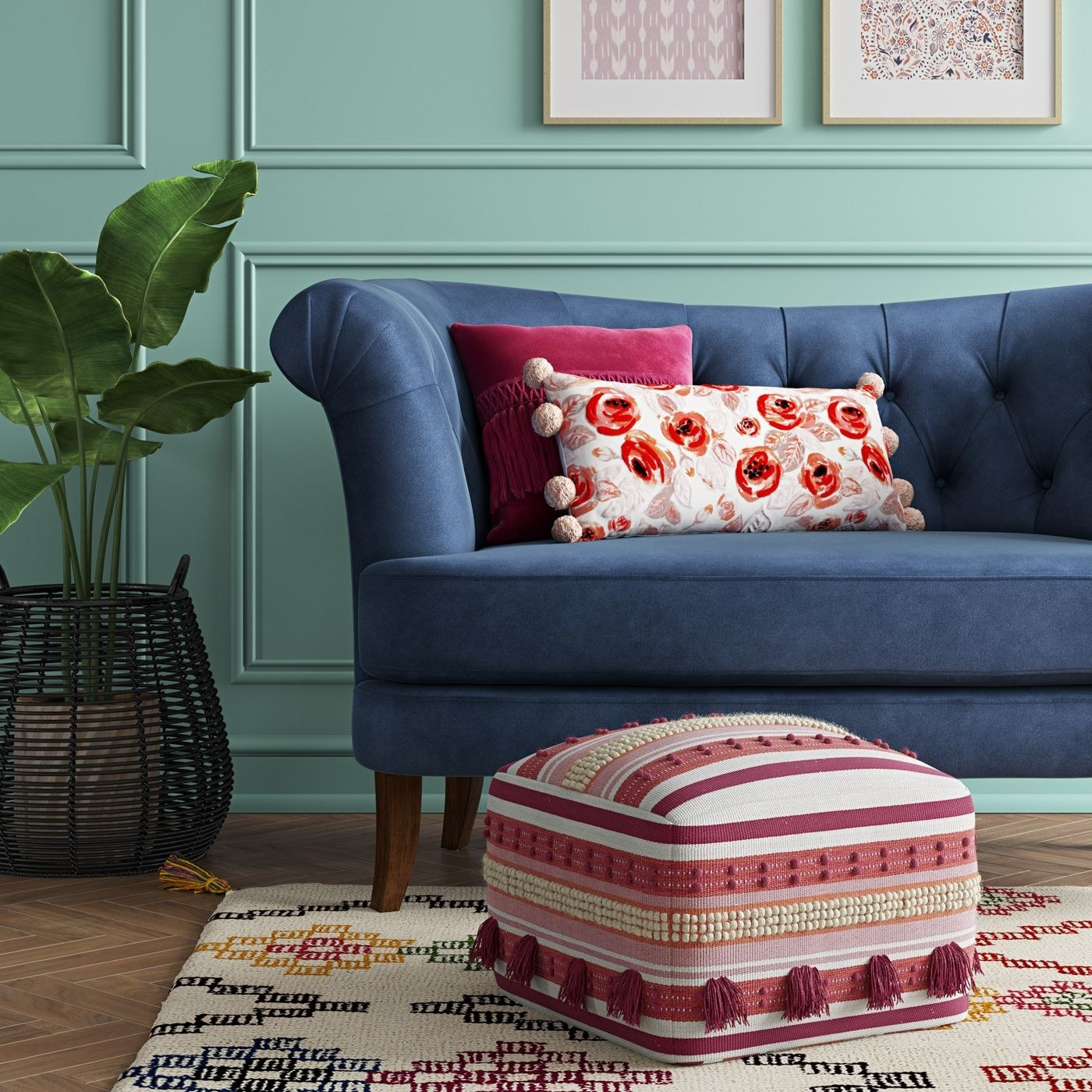 The pink and white pouf in a living room