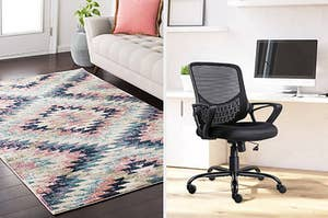 Side by side of printed geometric rug and mesh back office chair