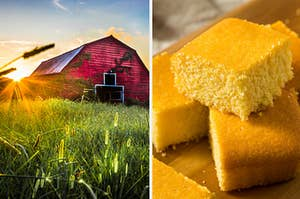 A barn is shining in the sun on the left with a plate of cornbread on the right