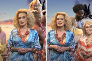 Side by side photos of Adele on SNL