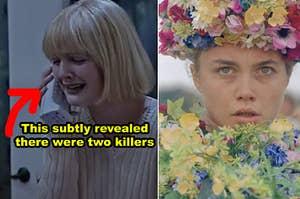 """并排侧""""呐喊""""开幕序列与凯西与杀手在手机上,并从""""Midsommar""""结束一个PIC当达尼穿着她的衣服花"""