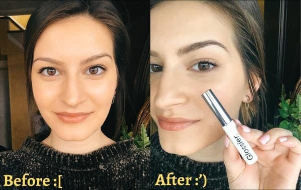 BuzzFeed editor's before and after showing how Boy Brow made her eyebrows look fuller and darker