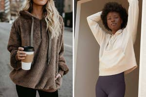 On the left, a sherpa pullover, and on the right, a hooded pullover