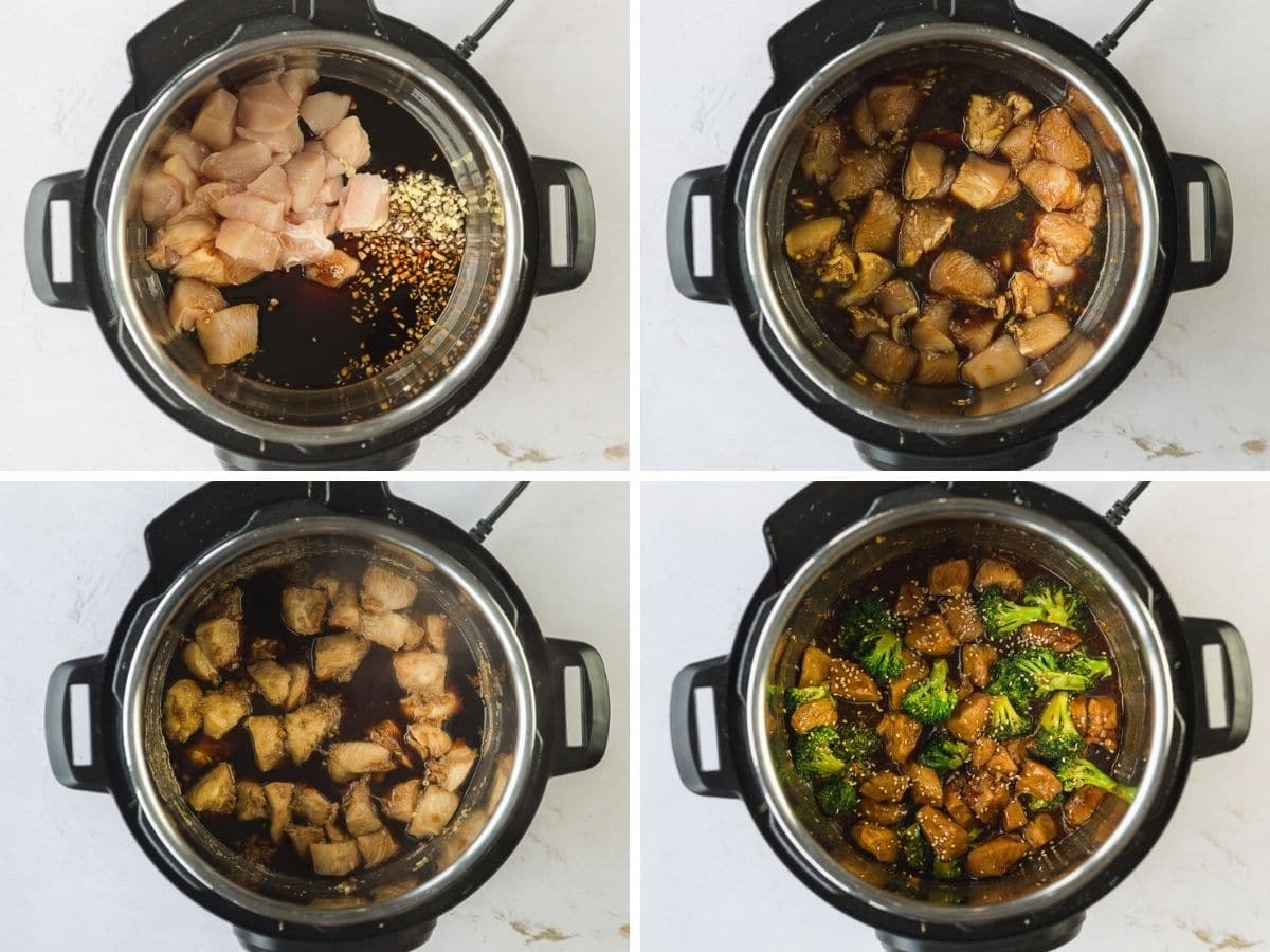Instant Pot Chicken and broccoli being prepped in an Instant Pot