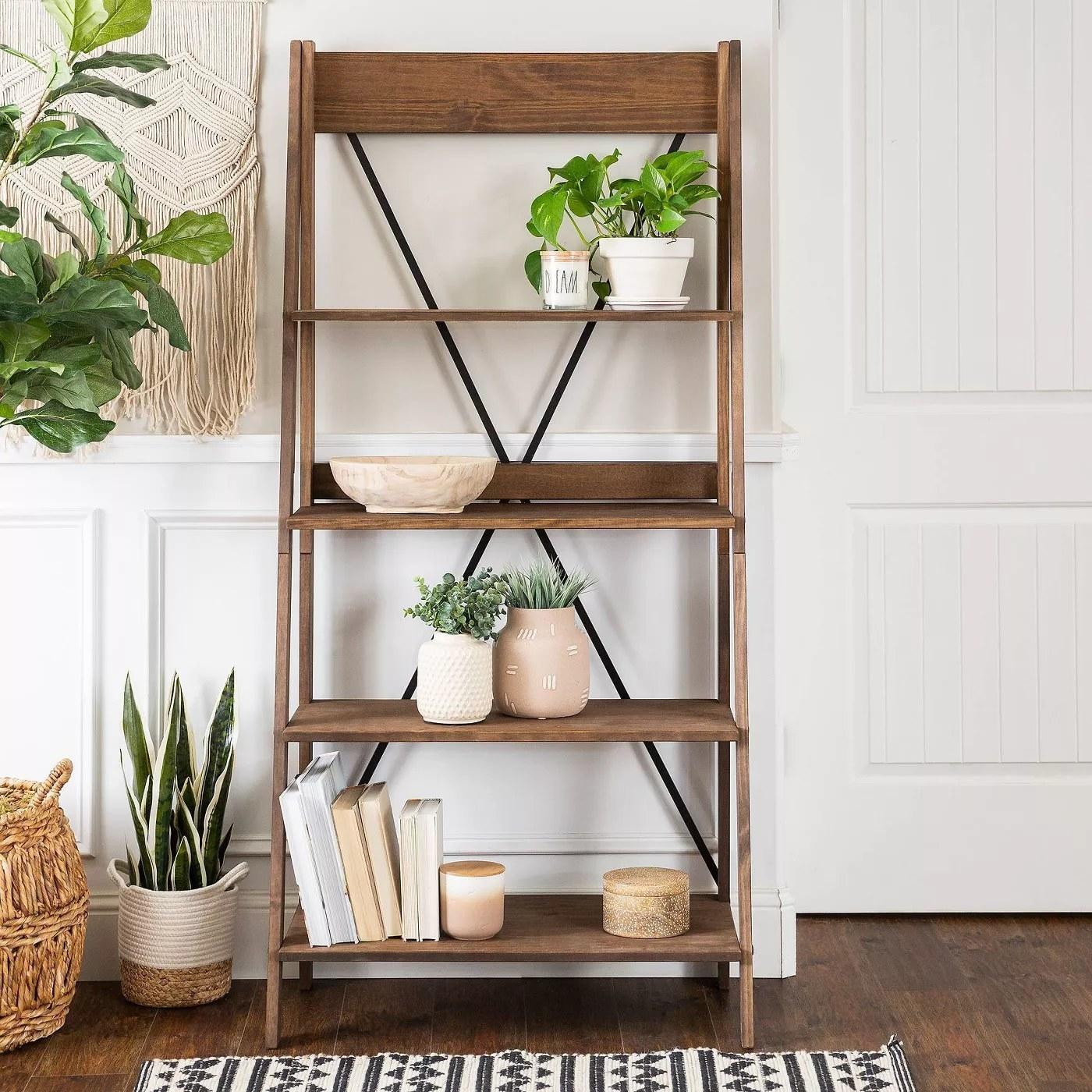 The ladder bookshelf in brown