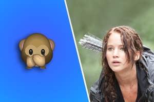 Katniss next to a monkey emoji
