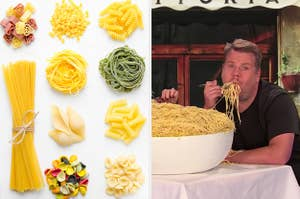 On the left, various piles of dry pasta, and on the right, James Corden eats spaghetti out of a large bowl