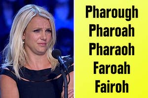 Britney Spears being confused about how to spell pharaoh