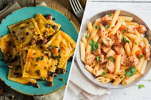 On the left, ravioli on a plate, and on the right, a bowl of penne pasta with chicken