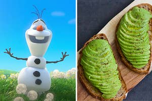Olaf is standing in a field on the left with a plank of avocado toast on the right