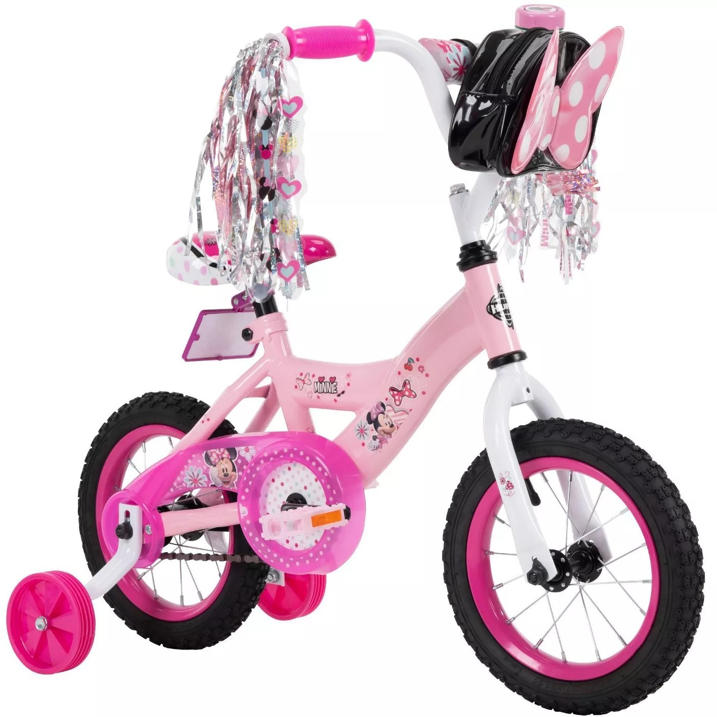 The pink Minnie Mouse bike with training wheels, a pouch, and tassels