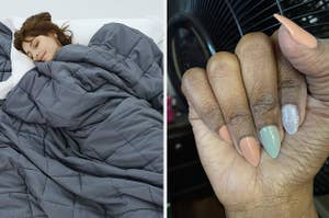 Side by side of model under a weighted blanket and reviewer showing off their multi-colored dip powder manicure