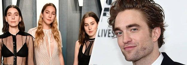 Haim and Robert Pattinson on the red carpet