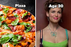 A beautiful pizza and age 30 label over jenna rink (13 going on 30)