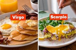 Pancake breakfast with virgo label and egg avocado breakfast with scorpio label