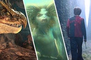 A dragon, a mermaid, and a boy going through a magic maze