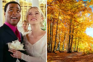 """On the right, Chiwetel Ejiofor and Keira Knightley embrace on their wedding day as Peter and Juliet in """"Love Actually,"""" and on the right, fall trees"""