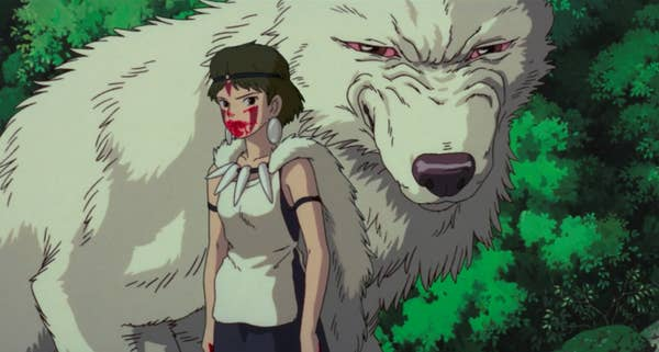 A young girl with a bloody mouth and a large white wolf