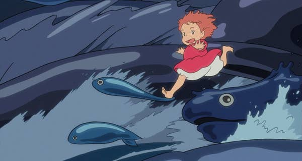 A girl running on waves that are in the shape of fish