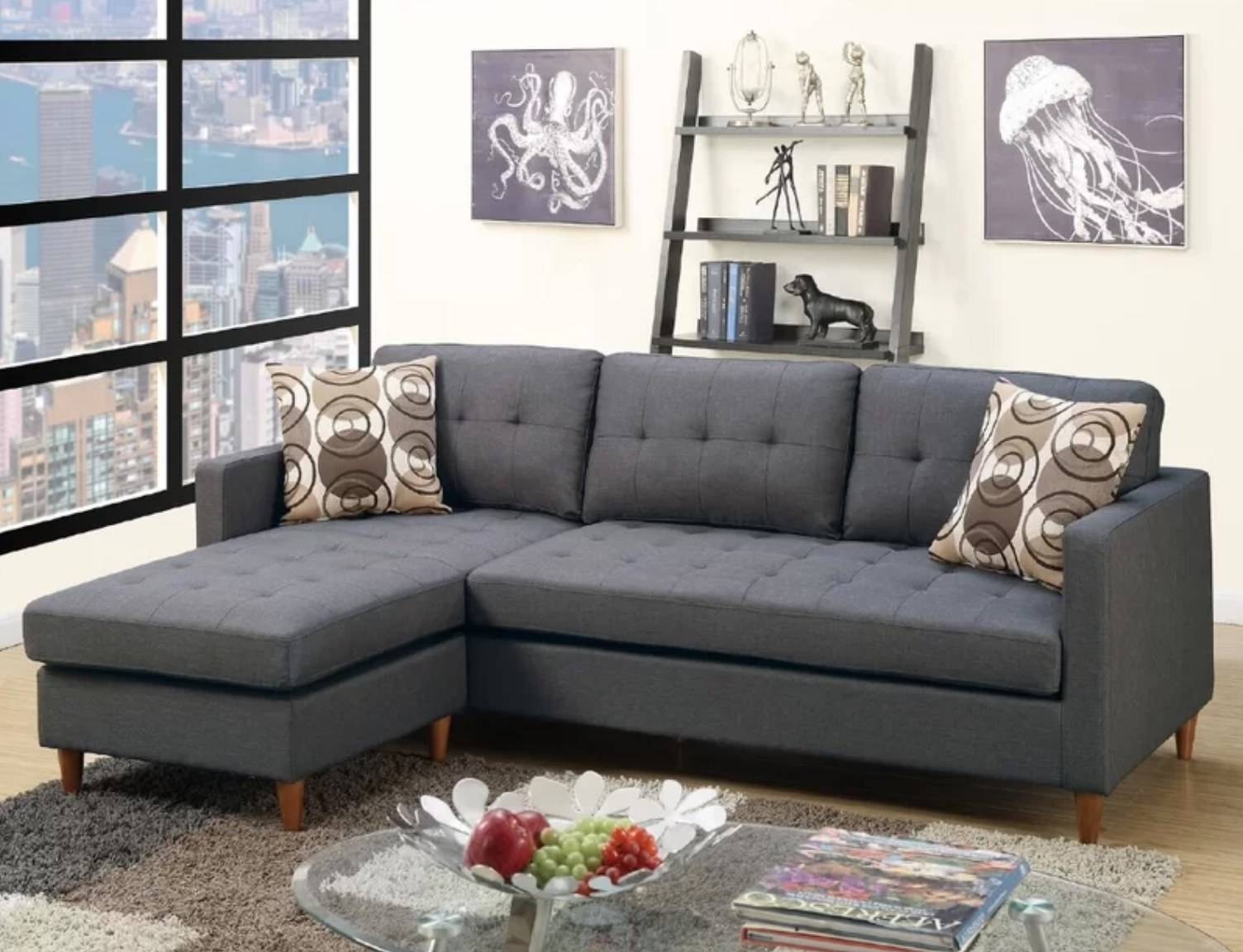 The reversible sofa and chaise sectional in gray
