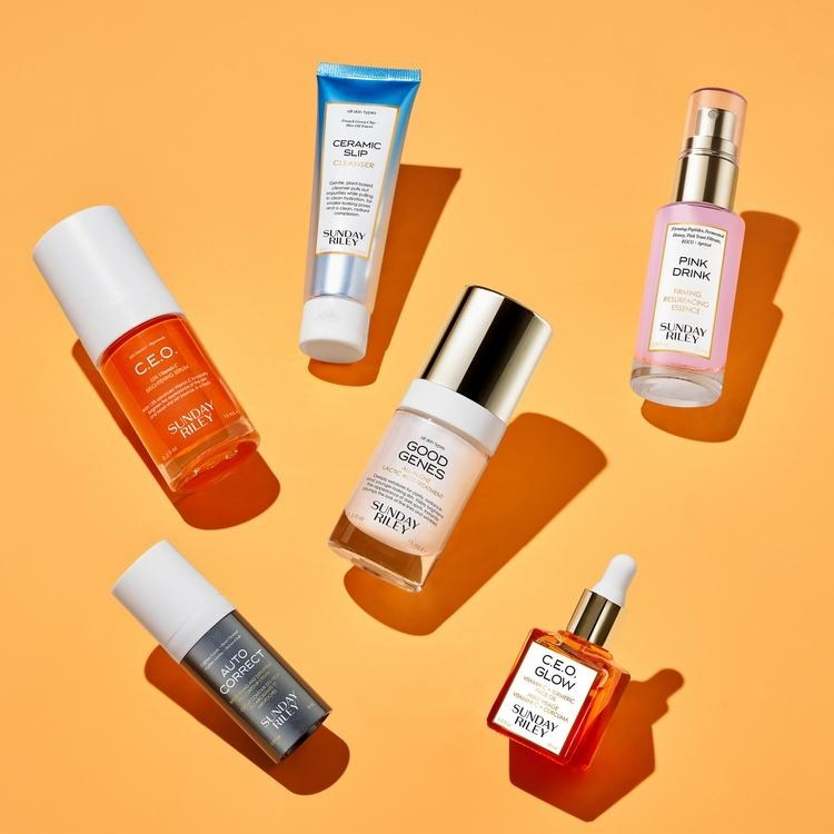 The six small skincare bottles