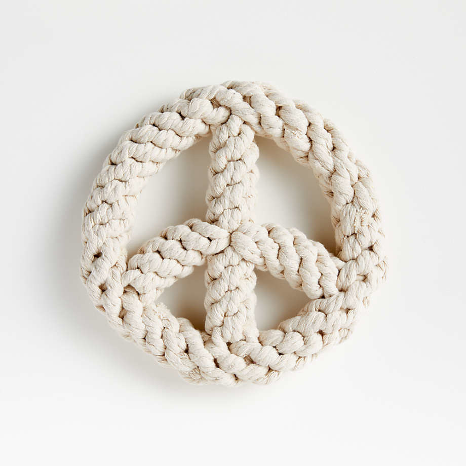 Round peace sign rope toy