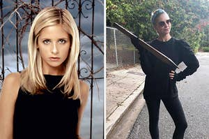 Sarah Michelle Gellar as buffy side by side with her holding a stake now as joke