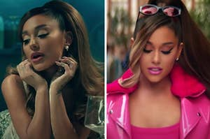 Ariana Grande is leaning on her palms on the left while playing in her hair on the right