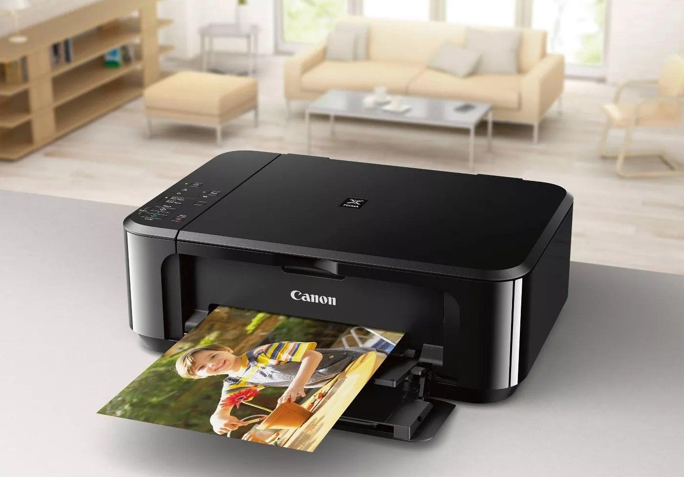 The printer printing a large photo