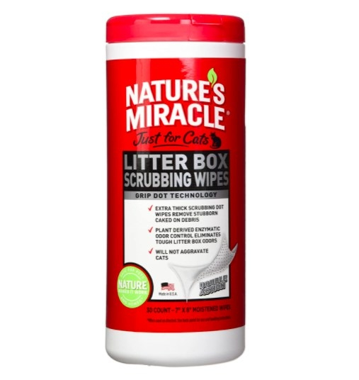 red container of nature's miracle litter box scrubbing wipes