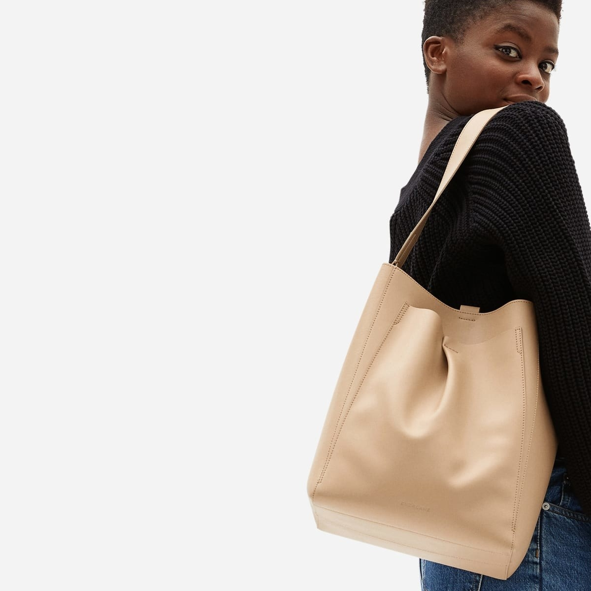 model carrying the bag