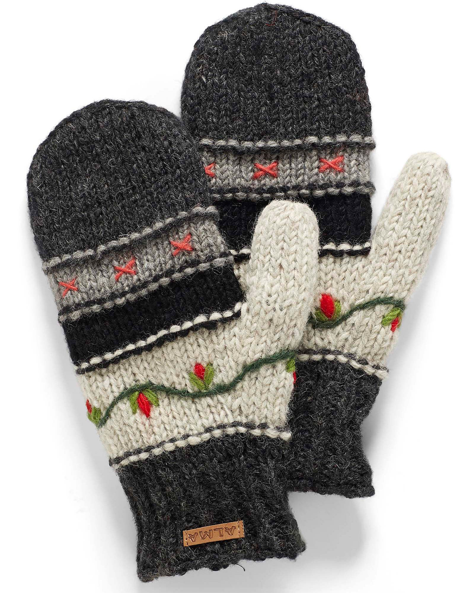 A pair of knit mittens with floral embroidery